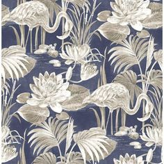 Miltonia Navy Flamingo Brewster Wallpaper Wallpaper Brewster Wallcoverings Beiges Blues Whites Birds Wallpaper Botanical Wallpaper Tropical Wallpaper, Non Woven, Easy to clean , Easy to wash, Easy to strip Flamingo Wallpaper, Palm Wallpaper, Tropical Wallpaper, Botanical Wallpaper, Wallpaper Samples, Modern Wallpaper, Geometric Wallpaper, Wallpaper Roll, Pattern Wallpaper
