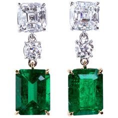 Colombian Emerald Diamond Gold Platinum Drop Earrings | From a unique collection of vintage more earrings at https://www.1stdibs.com/jewelry/earrings/more-earrings/