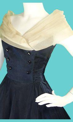 1950s off-shoulder vintage chiffon dress.