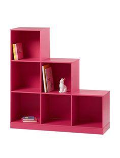Meuble de rangement 6 casiers en escalier taupe blanc rose fuchsia pistache - Escalier de rangement ...