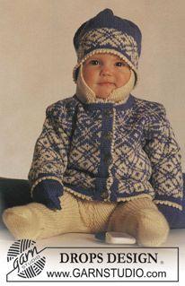 """Vest, broek, muts en wanten met traditioneel Noors motief van """"Baby Merino"""". Maat 3 mnd - 3 jaar. ~ DROPS Design"""