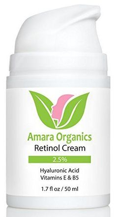 Amara Organics Retinol Cream for Face 2.5% with Hyaluronic Acid & Vitamins E & B5, 1.7 fl. oz -- Learn more by visiting the image link.