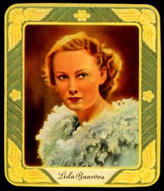 "Garbaty Cigarettes (Germany) ""Gallery of Modern Beauty"" 2nd series c1936. #279 Lida Baarova ~ Czech actress, 1914-2000"