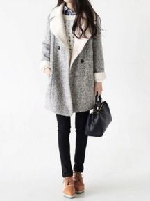 Simple Lapel Double Breasted Bodycon Woolen Coat