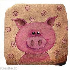 Original Watercolor Painting Whimsical Animal Portrait Pink Little Pig Piggie | eBay