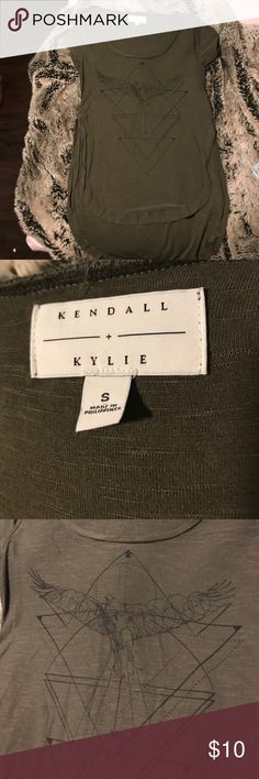 Kendall and Kylie olive green high low shirt Worn once, size small Tops