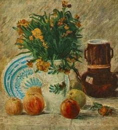 Vase with Flowers, Coffeepot, and Fruit. 1887. Oil on canvas.