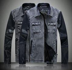 Men's Denim PU Leather Jacket