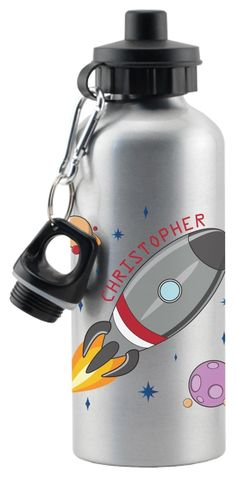 This rocket in space drinks bottle can be personalised with any name up to 15 characters. Personalised Childrens Gifts, Space Rocket, Drink Bottles, Water Bottle, Characters, Drinks, Personalized Gifts For Kids, Drinking, Beverages