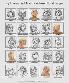 Most of these illustrated facial expressions from a meme by Nancy Lorenz, which challenged artists to submit their essential facial expressions. Drawing Lessons, Drawing Techniques, Drawing Tips, Drawing Reference, Expression Challenge, Drawing Expressions, Drawing Faces, Learn To Draw, Figure Drawing