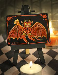 Your place to buy and sell all things handmade Halloween Items, Holidays Halloween, Vintage Halloween, Halloween Decorations, Art Trading Cards, Bicycle Playing Cards, Fright Night, Mini Paintings, Halloween Horror