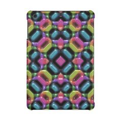 Blue Pink Orange Green Mosaic Kaleidoscope Pattern iPad Mini Cover