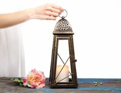 13'' Scheherazade Exotic Lantern/ Morrocan Decor/ Big Bronze Candle Holder/ Wedding Lighting Centerpiece