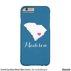 South Carolina Heart Blue Custom Monogram Barely There iPhone 6 Case