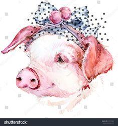 pig. cute piggy watercolor illustration.