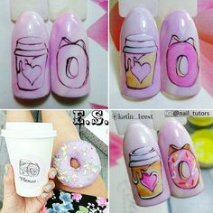 Coffee nail designs are the best choice for fall and winter, check the cutest pictures we`ve found lately! Shellac Nail Designs, Shellac Nails, Gel Nail Art, Nail Art Designs, Love Nails, Pretty Nails, My Nails, Cute Nail Art, Easy Nail Art