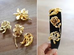 Make a Dolce & Gabbana inspired bejeweled velvet headband in a snap with vintage costume jewelry brooches!