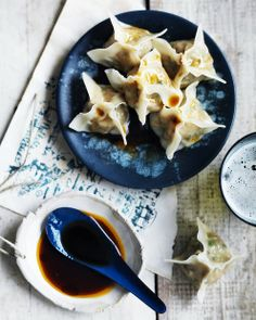 Prawn wontons with chilli oil and soy sauce