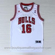 maillot nba pas cher Chicago Bulls Gasol #16 Blanc nouveaux tissu
