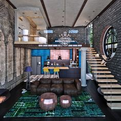 Attic loft interior design