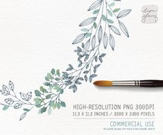 Watercolor wreath: PNG floral wreath clipart by LisaGlanzGraphics