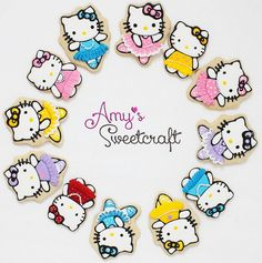 So much fun playing dress up with these adorable Hello Kitties Hello Kitty Cookies, Hello Kitty Cake, Hello Kitty Birthday, Sanrio Hello Kitty, Toy Story Party, Toy Story Birthday, Cute Cookies, Iced Cookies, Holiday Cookies