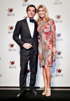 On the occasion of the Gala Dinner for the 10th Anniversary of Fondazione Milan, Italian TV host Fontana Federica wore a dress from the Blumarine Fall Winter 2013/14 collection.