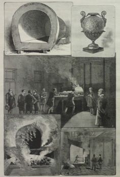 """NEW YORK - THE LONG ISLAND CREMATORY AT FRESH POND - ILLULSTRATIONS OF THE METHODS OF CREMATION."". This is an engraving showing how cremation is done featuring a New York crematory. ~ENGRAVING FROM AN OLD ISSUE OF FRANK LESLIE'S NEWSPAPER, PUBLISHED 1885. 