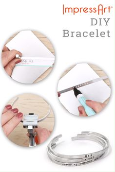 Create a metal stamped bracelet. Customize as you see fit, by adding names, quotes, lyrics, and just Diy Bracelets Metal, Diy Bracelets Video, Metal Stamped Bracelet, Diy Leather Bracelet, Hand Stamped Jewelry, Jewelry Bracelets, Metal Jewelry Making, Diy Jewelry To Sell, Diy Crafts Jewelry