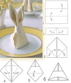 Bunny Napkin Fold how to. Easter rabbit-shaped napkins are a festive detail for the holiday table, and they only require a few simple folds. Easter Crafts, Holiday Crafts, Holiday Decor, Bunny Napkin Fold, Diy Ostern, Easter Party, Easter 2018, Easter Dinner, Paper Napkins