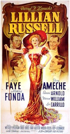 Best Film Posters : – Picture : – Description Lillian Russell – 1940 Notice Don Ameche & Henry Fonda were in this production. Old Movie Posters, Classic Movie Posters, Cinema Posters, Movie Poster Art, Classic Movies, Vintage Posters, Old Movies, Vintage Movies, Indie Movies