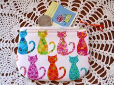 Coin/Business Card Clutch Zipper Case  Colorful Cats - pinned by pin4etsy.com