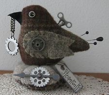 PRIMITIVE STEAMPUNK WOOL BIRD GEARS ARROW MAKE DO PIN CUSHION PFATT