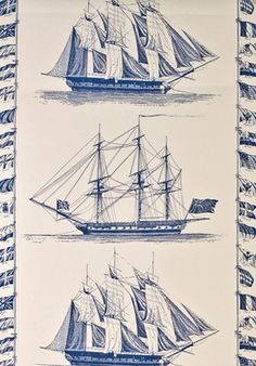 When I have my own house I want wallpaper with boats like this.