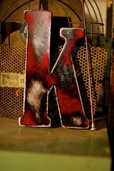 red metal letter K...