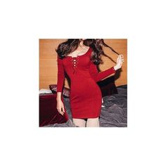Lace-Up Long-Sleeve Bodycon Dress ($24) ❤ liked on Polyvore featuring dresses, women, red sleeve dress, red dress, cashmere dress, body con dresses and lace up front dress