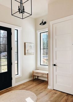 Front Door Colors With Tan House White Trim Entryway 48 Trendy Ideas Black Window Trims, Black Windows, Door Design, House Design, Build Your Own House, Grey Houses, White Doors, Black Door, Grey Walls
