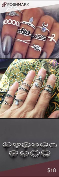 Ten Piece Boho Gypsy Ring Set | So nice! Bundles always 1/2 off EVERYDAY! 10 Piece Boho Ring Set SO CUTE!! Elephant, Goddess, Ankh, Tribal  Silver Alloy (no gold sets available) Size: Assorted (4-6 approx) New!! ✨✨✨BUNDLE and SAVE 1/2 off! Peace ✌️ Love ❤️ POSH  LeslieVegan Jewelry Rings