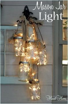 Mason Jar Chandelier via All Things Heart and Home
