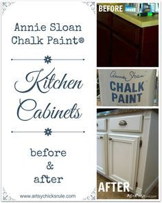 Kitchen Cabinets Painted with Annie Sloan Chalk Paint Before and After - artsychicksrule.com #chalkpaint #kitchenmakeover #kitchen