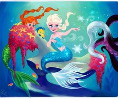 Dylan Bonner Disney Elsa & Anna in Ariel's World Disney Fan Art, Film Disney, Disney Princess Art, Disney Love, Disney Magic, Disney Frozen, Sailor Princess, Elsa Frozen, Frozen Anime