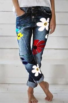 Deep Blue Denim Pants Pattern Type:Floral Thickness:Lightweight Material:Denim Occasion:Daily Style:Casual Theme:Summer Color:Deep Blue,Black,Khaki,Gray,Red Length Waist Hip Size Chart Size Length Waist Hip cm inch cm inch cm inch S 99 39 78 Floral Fashion, Denim Fashion, Fashion Outfits, Womens Fashion, Trousers Fashion, Sporty Fashion, Mod Fashion, Street Fashion, Mode Outfits