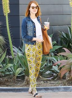 Emma Stone in Joie sandals while shopping in Los Angeles. See all of the star's best looks.