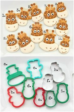 Creative Giraffe Face Cookies faces made using other cutters Awesome! - Cookie Cutters - Ideas of Cookie Cutters Galletas Cookies, Iced Cookies, Royal Icing Cookies, Cookies Et Biscuits, Sugar Cookies, Frosted Cookies, Cut Out Cookies, Cute Cookies, Cupcake Cookies
