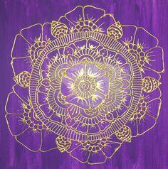Purple and Gold Mehndi Painting Mehndi Style Henna by GonzSquared #henna #mehndi  #mixedmedia #hennapainting #mehndipainting #hennadesign #mehndidesign