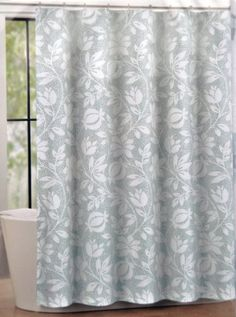Tahari Dot Floral Fabric Shower Curtain White Pattern On Aqua Blue Gray Dotted Background