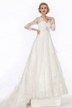 Dramatic A-Line V Neck Chapel Train Lace Wedding Dress Alb12077 $990.00 wedding dress, wedding dress, wedding dress, wedding dress, wedding dress