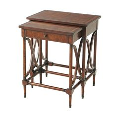 Antiqued Mahogany Nest of Two Tables – English Georgian America