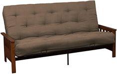 Epic Furnishings Berkeley 10-inch Loft Inner Spring Futon Sofa Sleeper Bed, Queen-size, Walnut Arm Finish, Microfiber Suede Mocha Brown Upholstery
