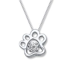 Diamonds in Rhythm Dog Paw Print Necklace Sterling Silver